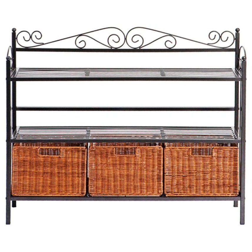 metal bakers rack wicker storage baskets shelves kitchen. Black Bedroom Furniture Sets. Home Design Ideas