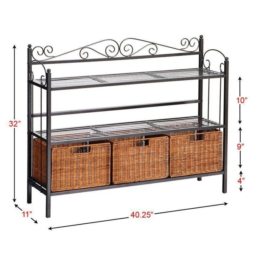 metal bakers rack shelves wicker storage baskets kitchen. Black Bedroom Furniture Sets. Home Design Ideas
