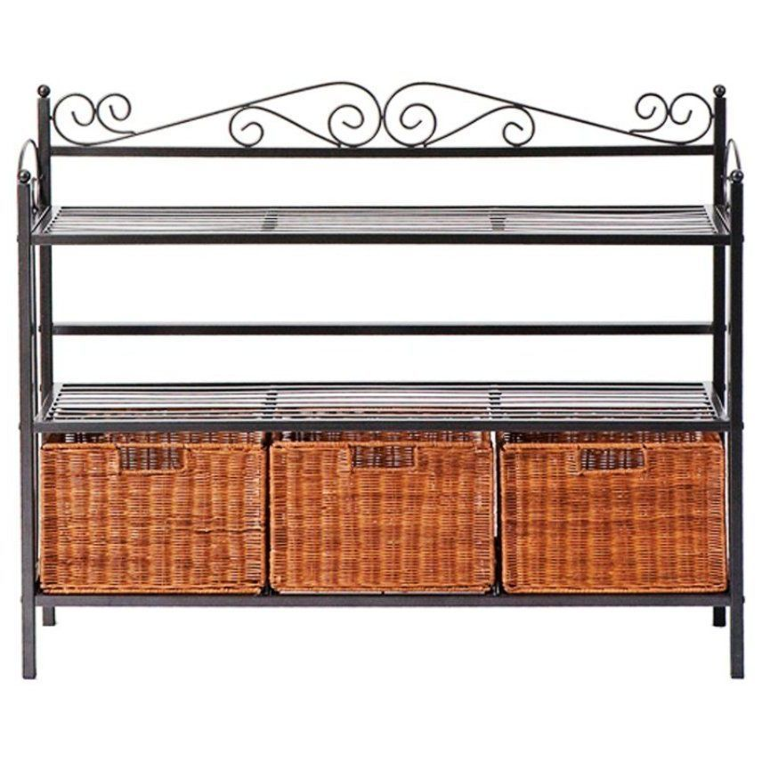 Metal bakers rack kitchen dining room furniture wicker for Racks for kitchen storage
