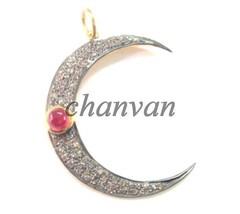 Vintage Artisan 1.0Ct Rose Cut/Polky Diamond 925 Silver Moon Pendant @CJ... - $6.856,17 MXN