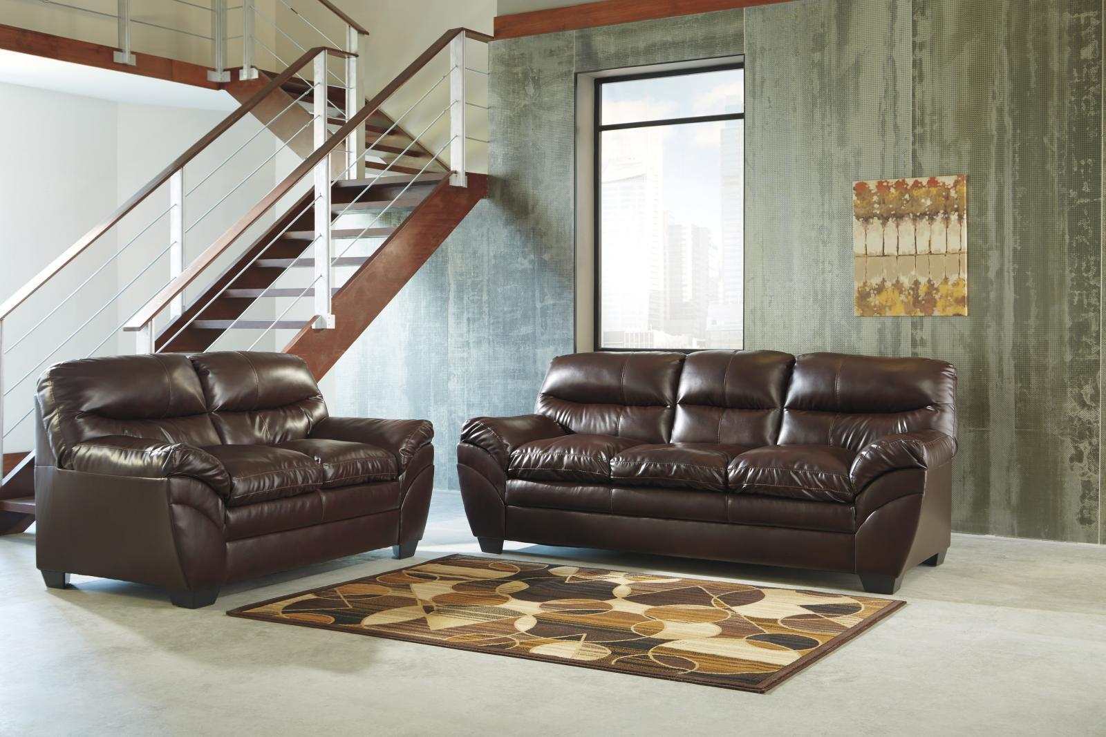Ashley Tassler DuraBlend Living Room Set 2pcs in Mahogany Contemporary Style