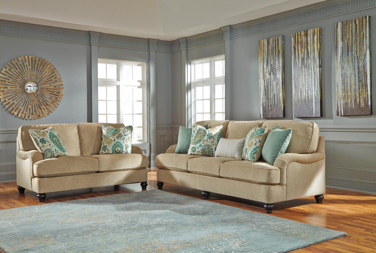 Ashley Lochian Living Room Set 2pcs in Bisque Upholstery Fabric Casual Style