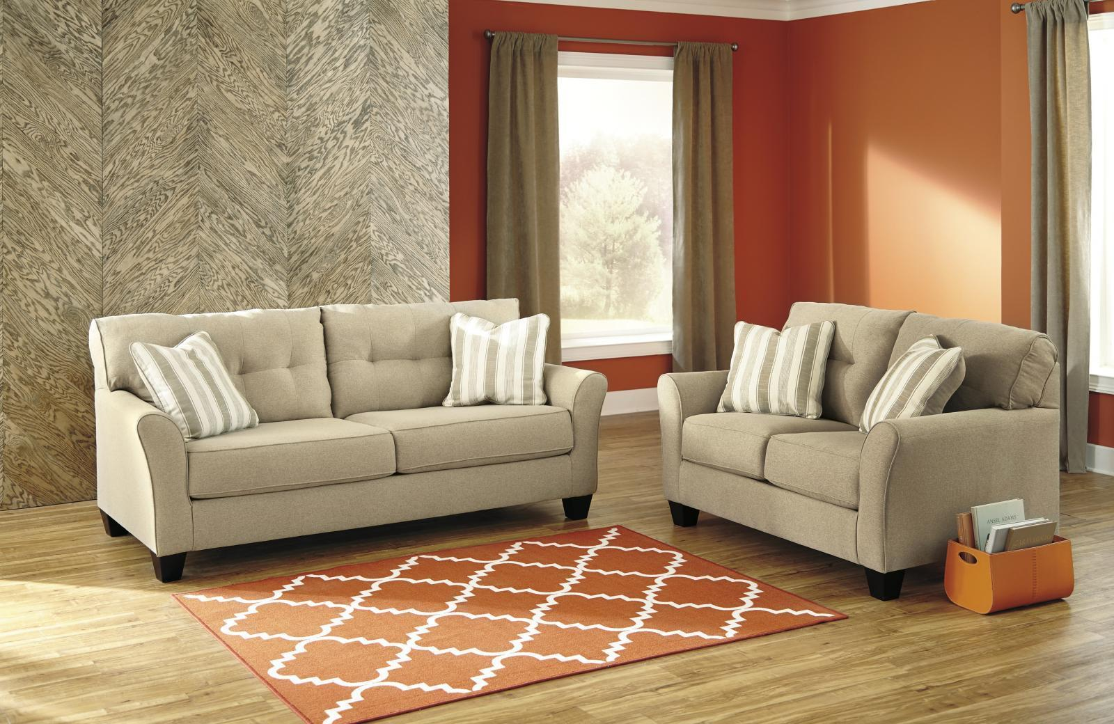 Ashley Laryn Living Room Set 2pcs in Khaki Upholstery Fabric Contemporary Style