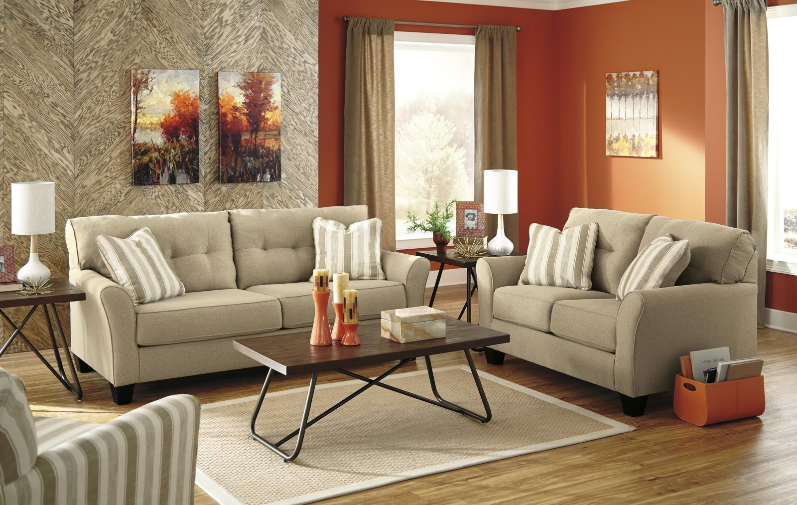 Ashley Laryn Living Room Set 3pcs in Khaki Upholstery Fabric Contemporary Style