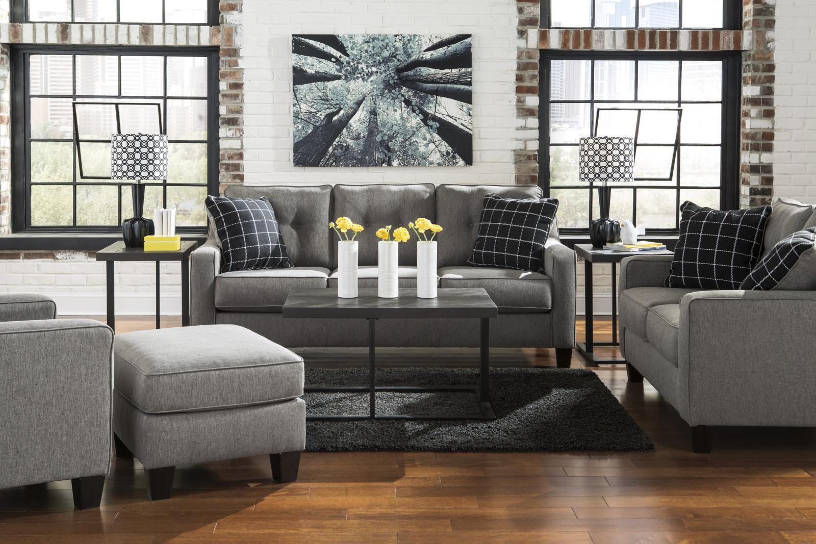 Ashley Brindon Living Room Set 4pcs in Charcoal Upholstery Fabric Contemporary