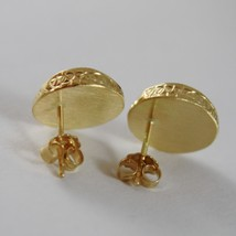 18K YELLOW GOLD ROUND BUTTON FLOWER EARRINGS FINELY WORKED DOUBLE MADE IN ITALY image 3