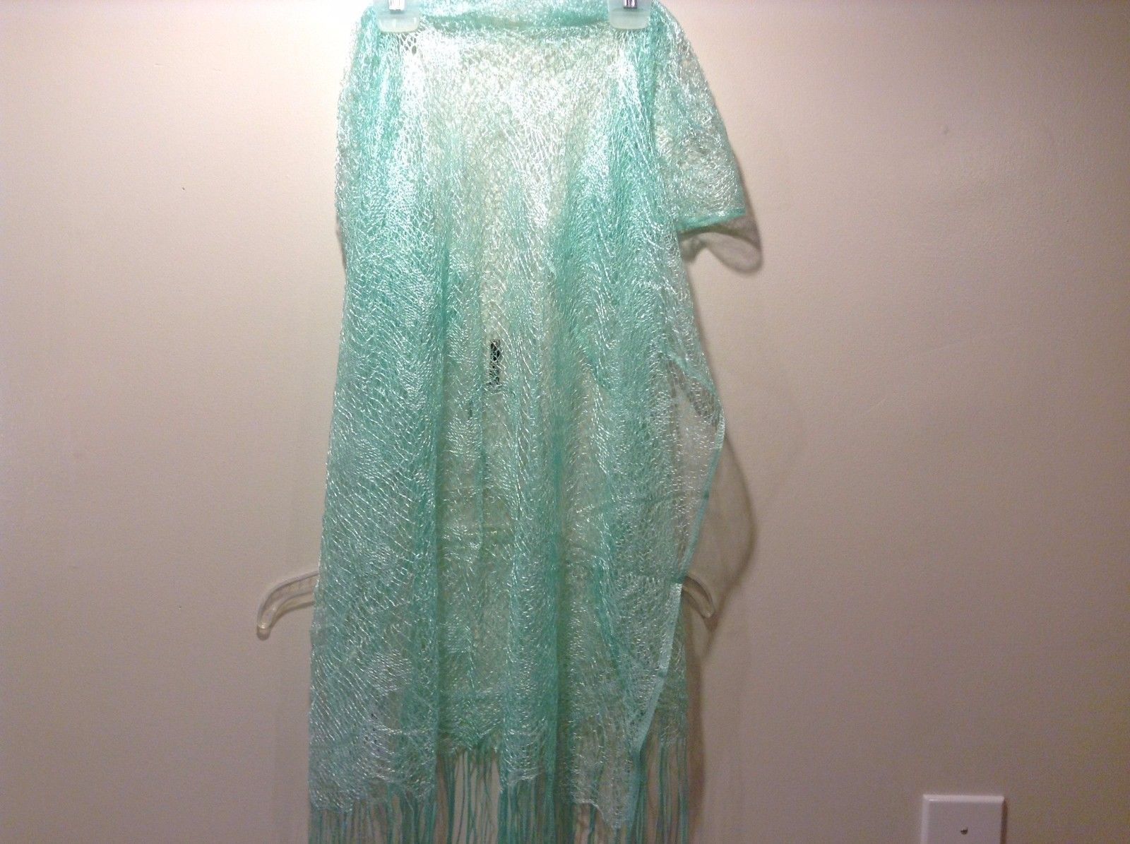 Howard's Mint Green Scarf Loose Knit 100% Polyester Fringe