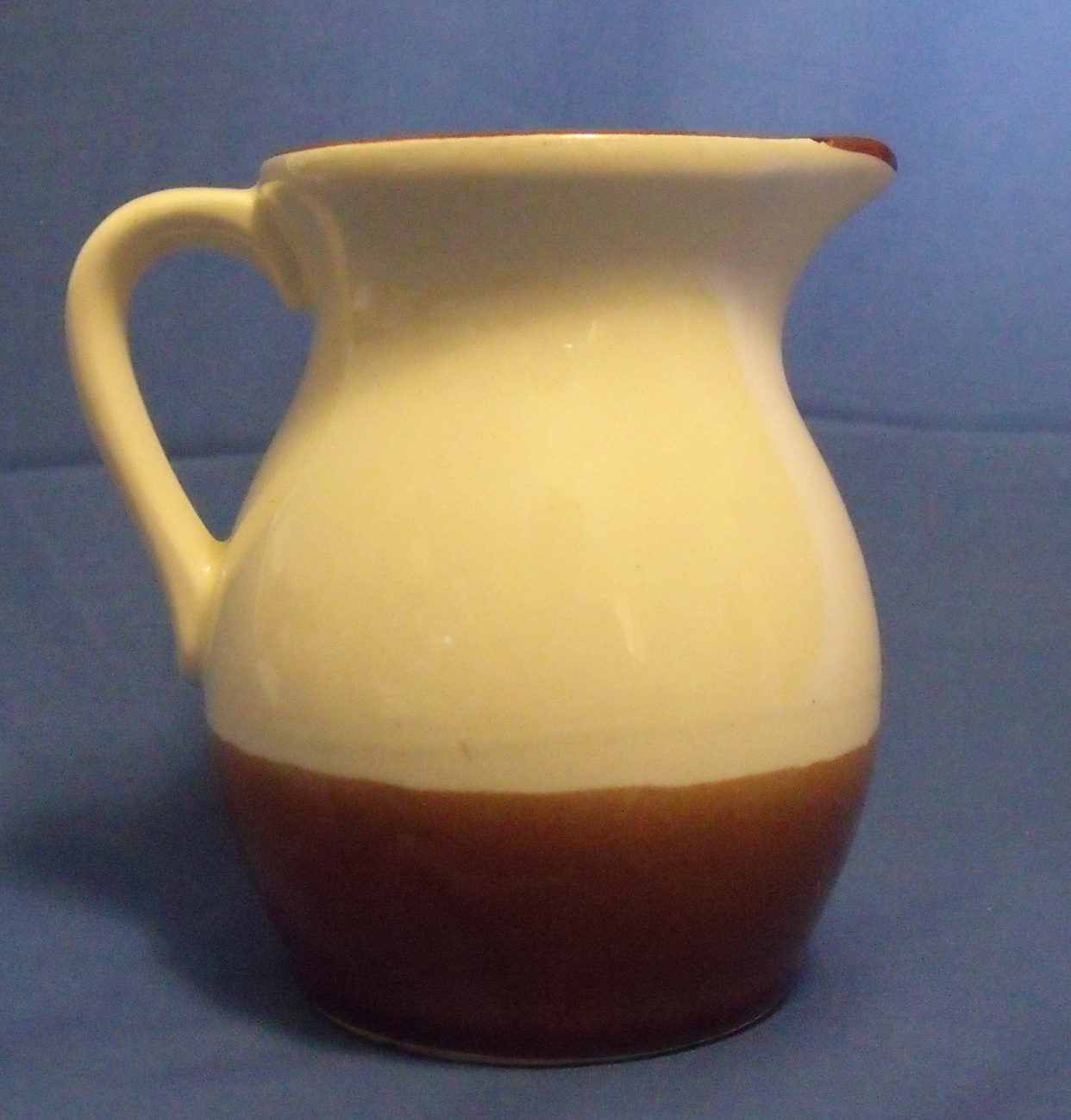 Ceramic Brown and Ivory with Flowers Creamer Pitcher