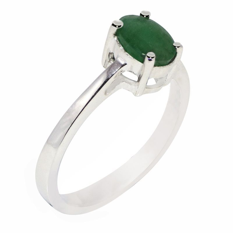 Indian Handmade Silver Ring with Emerald Gemstone 925 Sterling Ring Size L SR658