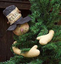 Rustic Holiday Snowman Tree Topper/Huger Primitive Christmas Holiday Dec... - £30.30 GBP