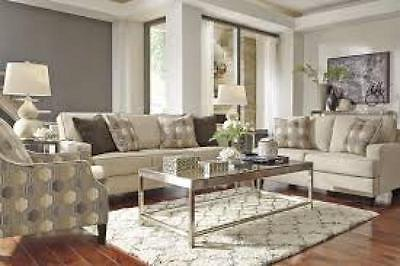 Ashley Brielyn Living Room Set 3pc in Linen Upholstery Fabric Contemporary Style