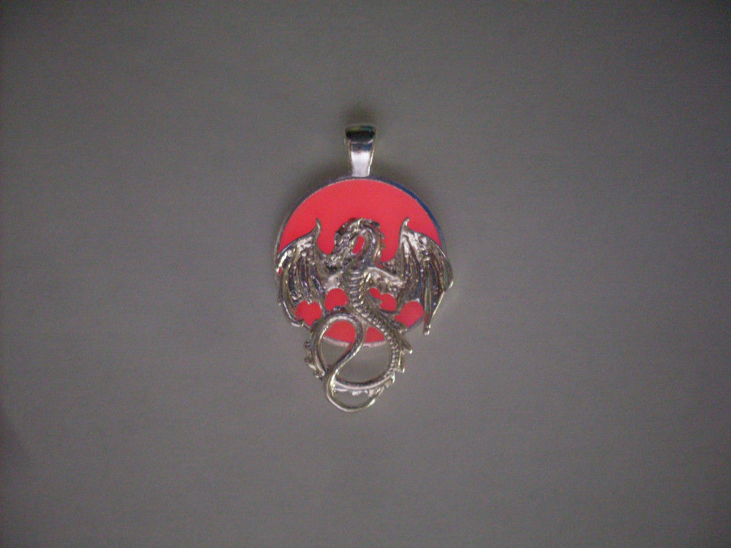 Primary image for GLOW IN THE DARK Winged Dragon Beast and Orb Sun Round Pendant Charm Necklace