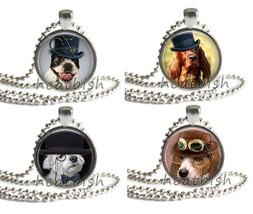 STEAMPUNK DOGS Puppy Glass Round Circle Photo Pendant Charm Accessory Jewelry - $10.95