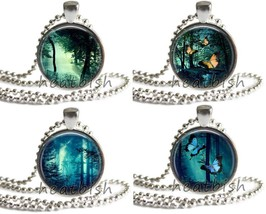 "FAIRY TALE ENCHANTED FOREST 1"" Round Glass Photo Pendant Accessory Natur... - $9.95"