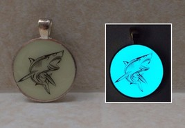 SHARK Glow in the Dark Silhouette Pendant Charm Necklace Animal Fish Gre... - $14.50