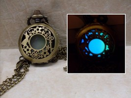 GLOW IN THE DARK Alice in Wonderland Fantasy Filigree Locket Pendant Nec... - $14.95