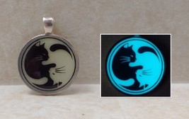 CAT YING YANG Glow in the Dark Silhouette Pendant Charm Necklace Kitty P... - $14.50
