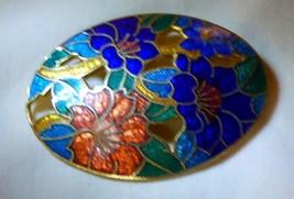 Vintage 1970s Enamel Lillies Pierced Oval Pin Purple Orange Green - $12.00