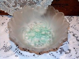 Wild Rose Bowl Indiana Glass Frosted Glass With... - $7.24