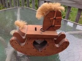 """Handmade Wooden Rocking Horse BANK W Straw Mane Visible Savings 11"""" x 10... - $23.49"""
