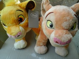 "DISNEY STORE 13"" Plush Symba and Nala Young Cub... - $43.55"