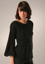 DIANE von FURSTENBERG BUDDY BLACK  TOP BLOUSE - US 8 - UK 12 - $125.88