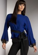 DIANE von FURSTENBERG BUDDY COBALT BLUE TOP BLOUSE - US 12 - UK 16 - $125.88