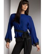 DIANE von FURSTENBERG BUDDY COBALT BLUE TOP BLOUSE - US 12 - UK 16 - $143.04