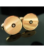 Diamond Cufflinks Vintage Jewelry gold tuxedo cuff links mens ANson form... - $155.00