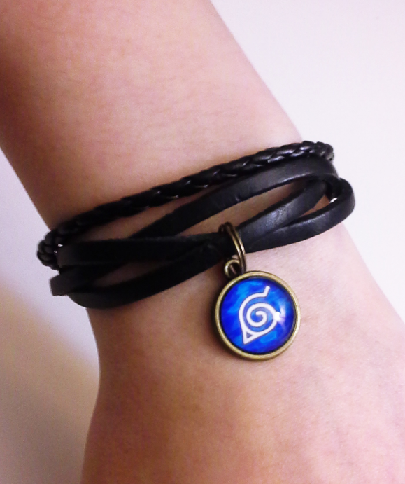 Naruto Black Leather Bracelet with 14mm Glass Stone