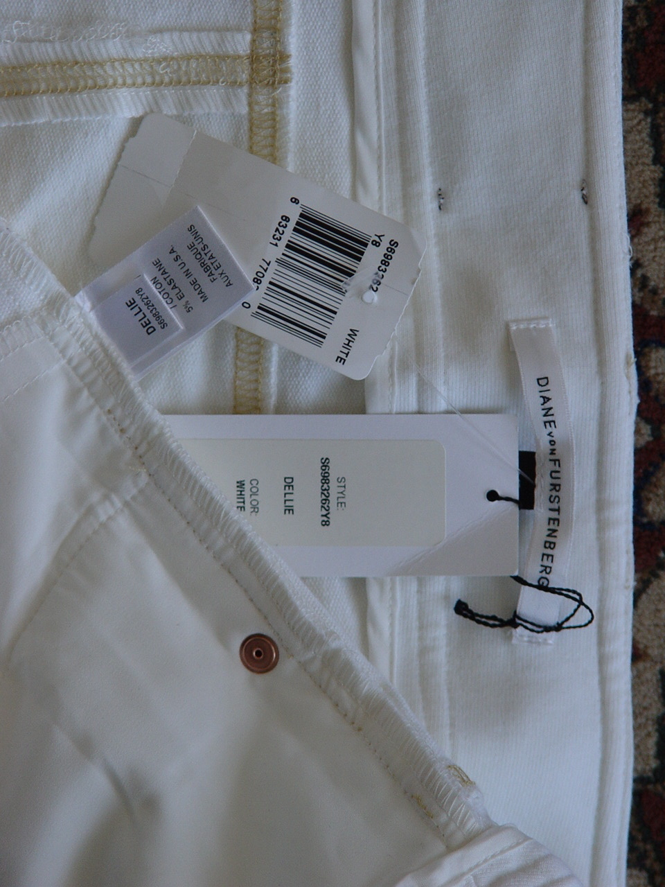 DIANE von FURSTENBERG DELLIE WHITE PANTS TROUSERS - US 12  - UK 16
