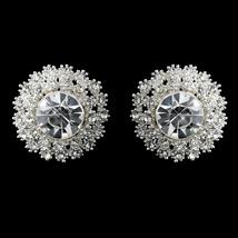 Rhinestone Stud Earrings #2605 Round Silver Sunburst - $18.49