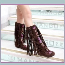 Tall Colorful Indian Stitched Nubuck Leather Moccasins with Fringed Tassel Sides image 2