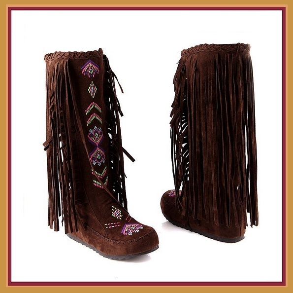 Tall Colorful Indian Stitched Nubuck Leather Moccasins with Fringed Tassel Sides