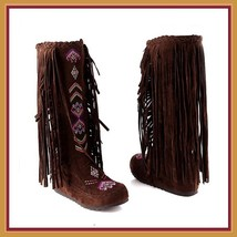 Tall Colorful Indian Stitched Nubuck Leather Moccasins with Fringed Tassel Sides image 3