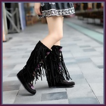 Tall Colorful Indian Stitched Nubuck Leather Moccasins with Fringed Tassel Sides image 6