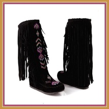Tall Colorful Indian Stitched Nubuck Leather Moccasins with Fringed Tassel Sides image 7