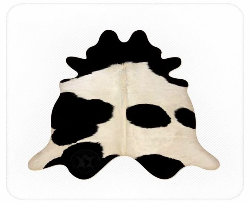 Black and White Cloud 50 to 50 Brazilian Cowhide Rug Large 36 to 40 s.f.