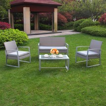 4 PC Wicker Furniture Set Cushioned Outdoor Wicker Patio Steel Sofa Seat... - $219.99