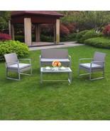 4 PC Wicker Furniture Set Cushioned Outdoor Wicker Patio Steel Sofa Seat... - $209.99