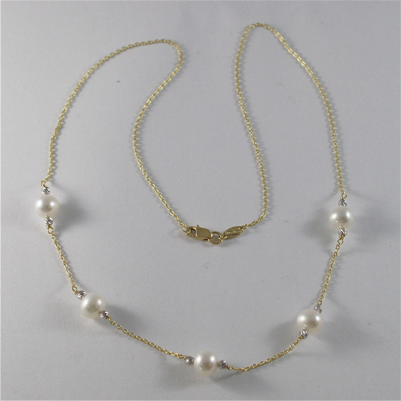 18K YELLO GOLD NECKLACE WITH ROUND WHITE 6 7 mm FRESHWATER PEARLS MADE IN ITALY