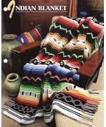 Indian Blanket Afghan Crochet Pattern Annies Attic Blanket Throw Colorful    - $23.99