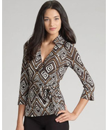 DIANE von FURSTENBERG JILL VINTAGE TRIBAL DIAMOND NEUTRAL TOP BLOUSE -US... - $115.10