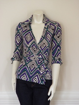 DIANE von FURSTENBERG JILL VINTAGE TRIBAL DIAMOND PURPLE TOP BLOUSE - US... - $115.10