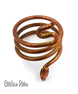 Copper Wrap Around Snake Ring with a Bohemian Gypsy Style - $12.00