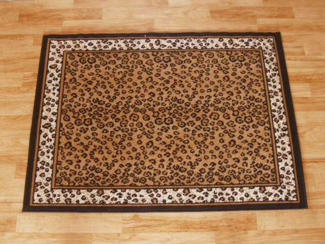 Leopard Print Area Rug with Leopard Print Border 4ft. x 6ft.
