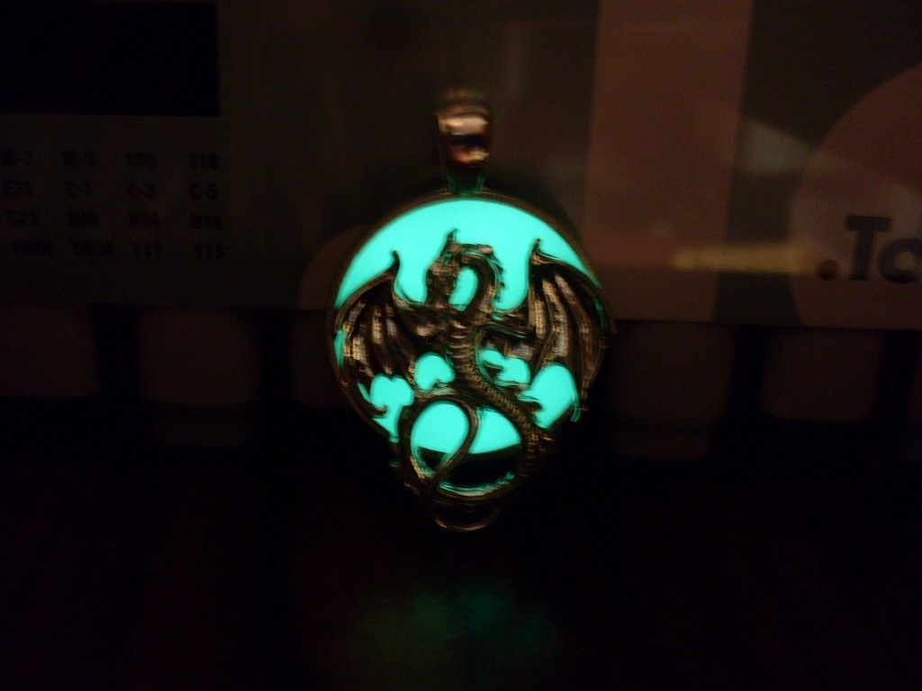 GLOW IN THE DARK Winged Dragon Beast and Orb Sun Round Pendant Charm Necklace