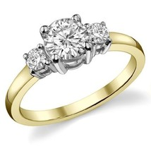 1.40CT Forever One Moissanite 4 Prong 3-Stone Ring Two Tone 18K Gold  - $909.15