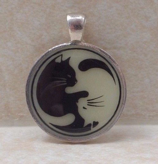 CAT YING YANG Glow in the Dark Silhouette Pendant Charm Necklace Kitty Pet Cute