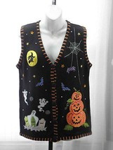 Holiday Editions Multi Color Cotton Blend V-Neck Button Sweater Vest Sz:... - $19.99